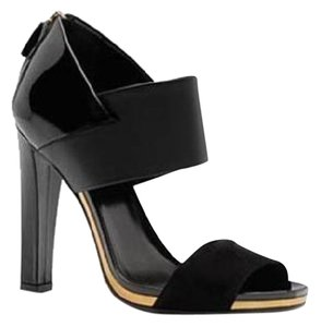 Gucci Double Band Open Toe Pumps Patent Leather Black Sandals
