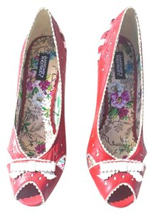 Naughty Monkey Red Leather Ribbons Bows Limited Edition Exclusive red/white Pumps