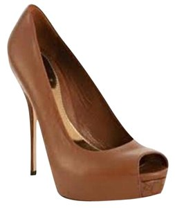 Gucci Peep Toe Guccissima Platform Open Toe Heels Brown Pumps