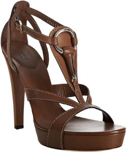 Gucci Open Icon Bit T Strap Platform Brown Sandals