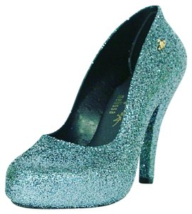 Vivienne Westwood Limited Edition Glamorous Skyscrapers Fascinating Glitter Ice Blue Pumps