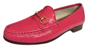 Gucci Patent Leather Horsebit Loafers Driving Pink Shocking Pink Flats