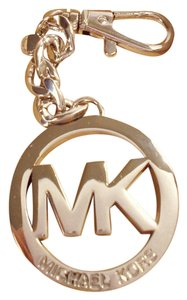 Michael Kors Logo Key Chain Ring Fob Hang Tag Pendant NWT Silver w/ Gift Box