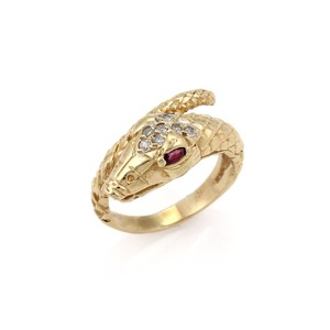Modern Vintage Estate Diamond & Ruby 14k Yellow Gold Snake Bypass Ring