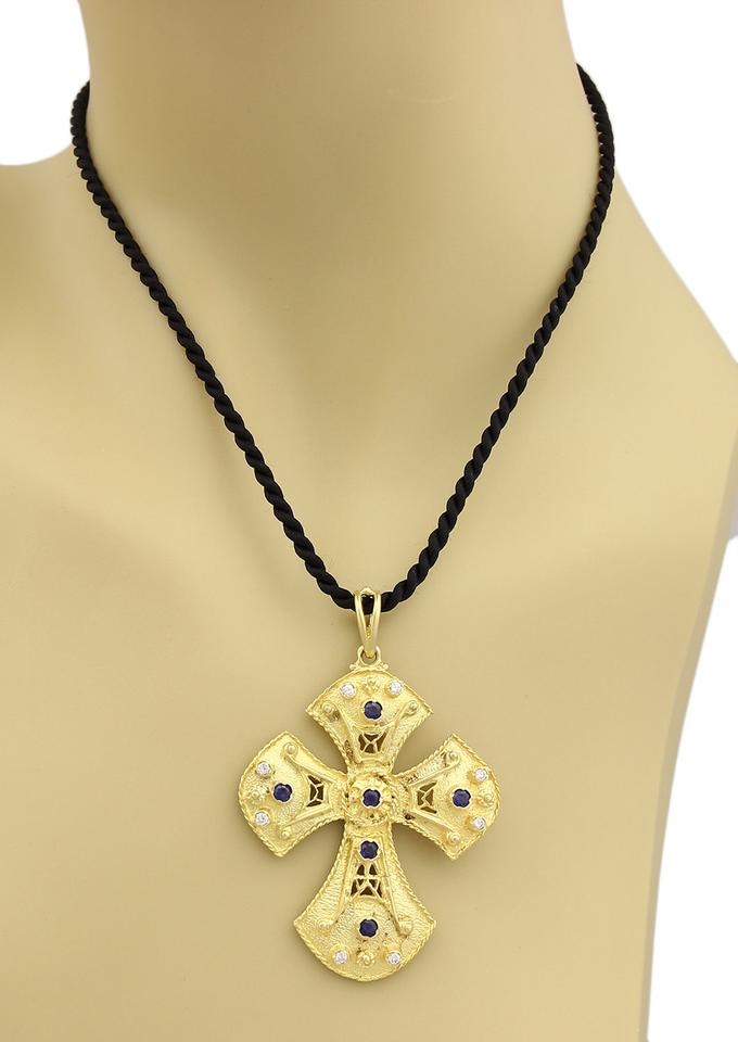 Modern vintage 19060 byzantine diamond sapphire 18k gold cross modern vintage byzantine diamond sapphire 18k gold cross pendant cord neck aloadofball Image collections