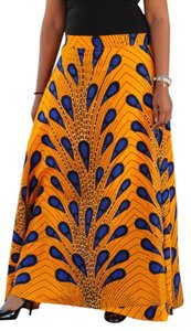 Zavdi&zavdiel African Wear Embellished Maxi Skirt Yellow/Blue