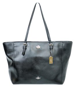 Coach Hang Tag Leather Tote in Black
