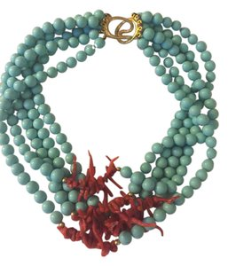 Frolic Beautiful blue and coral bead necklace