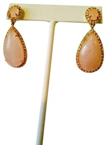 Ralph Lauren Rose Quartz Gemstone & Crystal Gold Teardrop Earrings