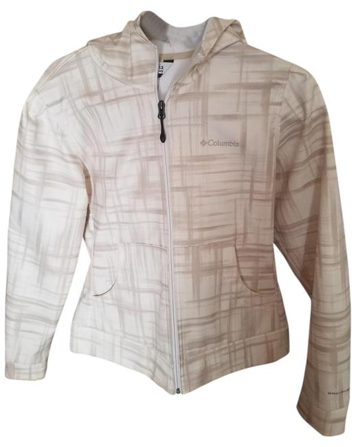 Item - Beige and White Polyester Jacket Size 8 (M)