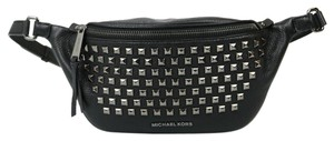 Michael Kors Leather Studded Fanny Pack Adjustable Strap Gunmetal Hardware Black Travel Bag
