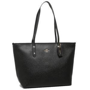 Coach City Zip Crossgrain Leather Tote in BLACK