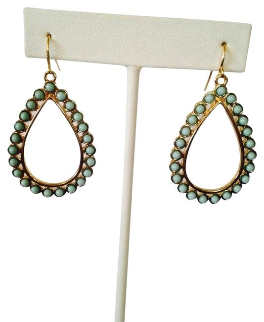 Ralph Lauren Turquoise/ Gold Teardrop Dangle Earrings Ralph Lauren Turquoise/ Gold Teardrop Dangle Earrings Image 1