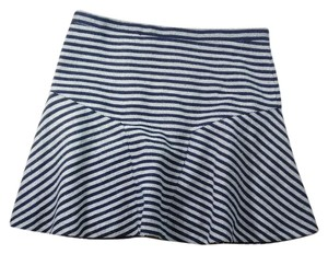 J.Crew Fit Flare Nautical Striped Navy Zipper Mini Skirt Blue