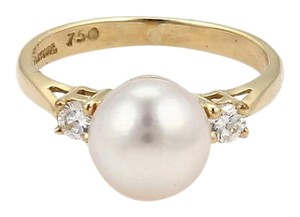 Tiffany & Co. Diamonds 8mm Pearl 18k Yellow Gold Ring Size 4.5