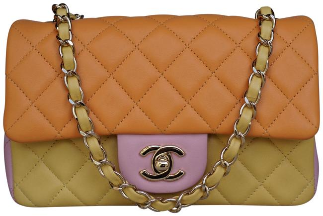 Item - Classic Flap Tri-colors Flap with Gold Chain Limited Orange/Yellow/Rose Lambskin Leather Cross Body Bag