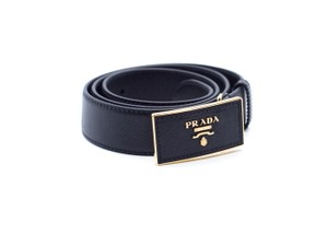 Prada Prada Women's Saffiano Black Leather Belt Gold Hardware