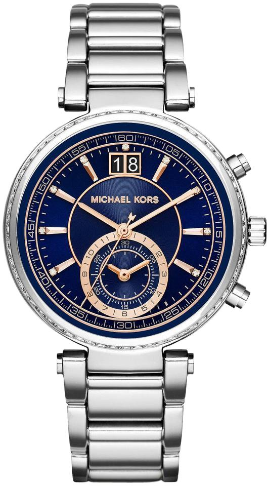 6a1e98b16 Michael Kors Michael Kors MK6224 Sawyer Blue Dial Stainless Steel  Chronograph Women ...