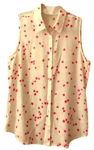 Equipment Stars Button Down Shirt White and Dark Pink