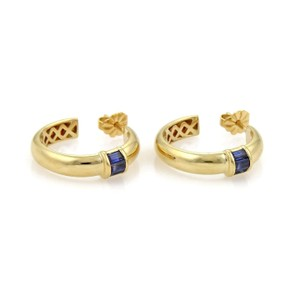 Tiffany & Co. 1ct Sapphire 18k Yellow Gold Hoop Earrings