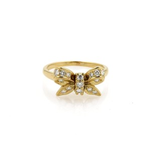 Tiffany & Co. Diamond 18k Yellow Gold Ribbon Bow Ring Size 6