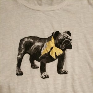 J.Crew Bulldog T Shirt White, black and gold