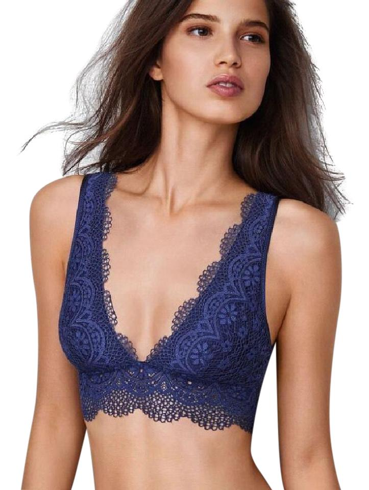565b62e652 Victoria s Secret Navy New V Neck Lace Long Line Plunge Bralette Bra Blue Xs