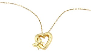 Tiffany & Co. 18K Yellow Gold Heart & Bow Pendant Necklace
