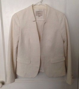 Ann Taylor LOFT Textured Ivory Cream Casual White Jacket
