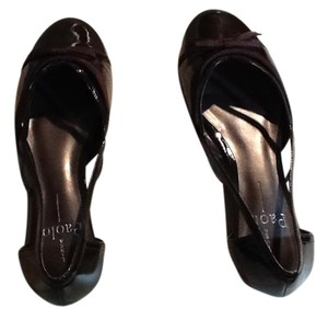 Linea Paolo Patent Leather Ribbon Design Ballet Run Small Chocolate Brown Flats