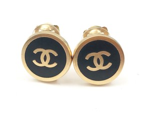 Chanel Chanel Gold Black Button Clip on Earrings