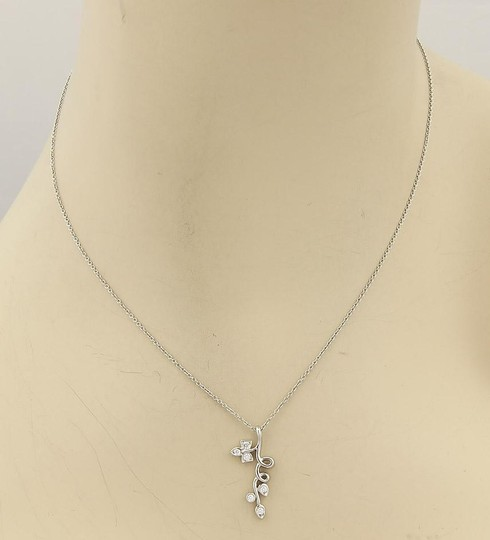 Tiffany & Co. Platinum & Diamond Floral Vine With Leaves Pendant Necklace Image 1