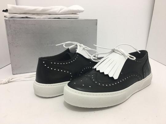 Robert Clergerie Lace Up Oxfords Moccassin Leather Black / White Flats Image 1