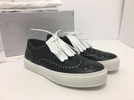 Robert Clergerie Lace Up Oxfords Moccassin Leather Black / White Flats Image 10