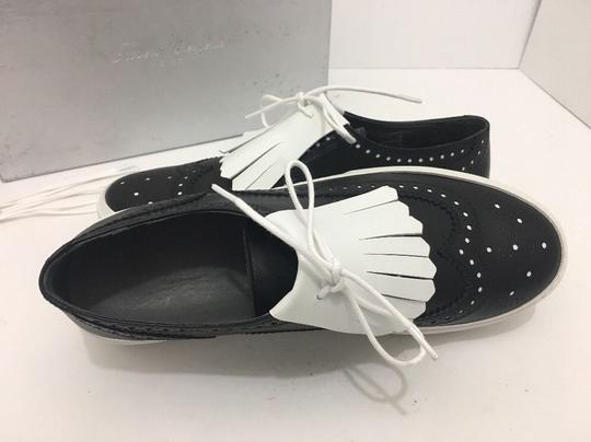 Robert Clergerie Lace Up Oxfords Moccassin Leather Black / White Flats Image 6