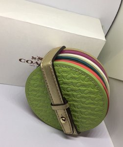 Coach COACH LEGACY HERITAGE MULTI COLORED EMBOSSED LEATHER COASTERS SET