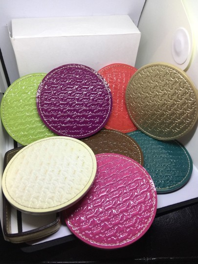Coach COACH LEGACY HERITAGE MULTI COLORED EMBOSSED LEATHER COASTERS SET Image 1