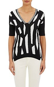 Zero + Maria Cornejo Short Sleeves Stripes Colorblocking Modern Side Slits Sweater