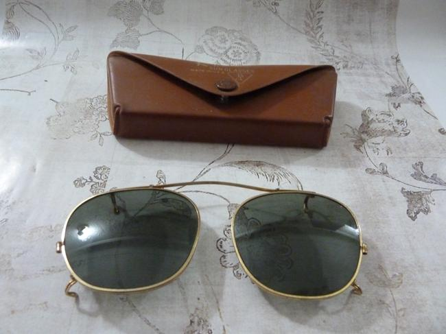 Item - Golden Clip On and Case Vintage Rare Sunglasses