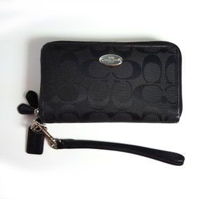 Coach F53616 12CM Signature Double Zip Wristlet Wallet with Strap in Black