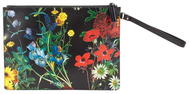 Item - Midnight Meadow Floral Multicolor Leather Wristlet