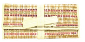 Franchi Fold Over No Dust Bow Detail Pink Ivory Clutch
