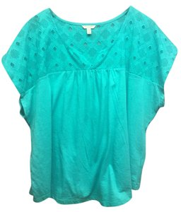 Sonoma V-neck Casual Lace T Shirt Teal