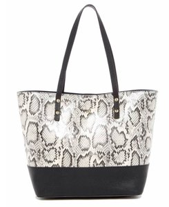 Cole Haan Beckett Animal Print Snakeskin Exotic Tote in Black, White