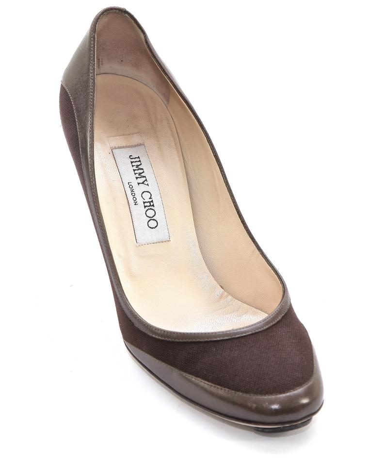 aba4f1cd8125 Jimmy Choo Brown Canvas Leather Rounded Toe Heel 37.5 Pumps Size US ...