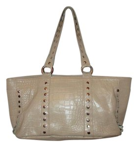 Cecconi Croc Leather Studded Tote in beige