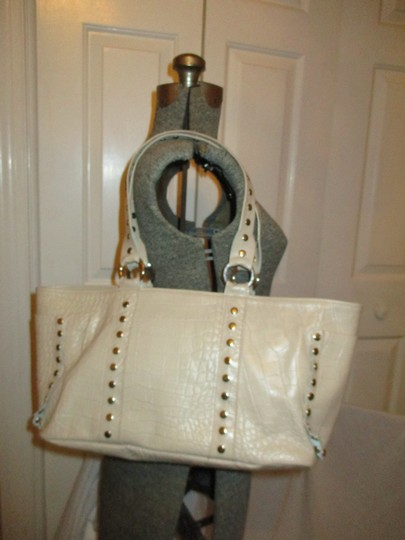 Cecconi Croc Leather Studded Tote in beige Image 1