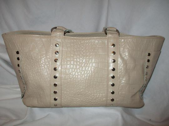 Cecconi Croc Leather Studded Tote in beige Image 2