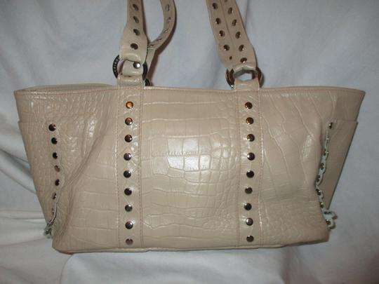 Cecconi Croc Leather Studded Tote in beige Image 3