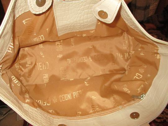Cecconi Croc Leather Studded Tote in beige Image 4